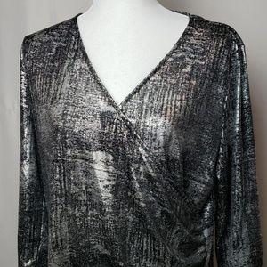 torrid Tops - Torrid Silver Metallic and Black Blouse
